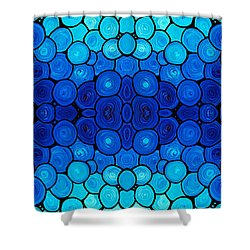 Winter Lights - Blue Mosaic Art By Sharon Cummings Shower Curtain by Sharon Cummings