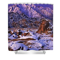 Winter Morning Alabama Hills And Eastern Sierras Shower Curtain by Dave Welling