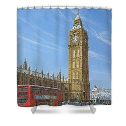 Winter Morning Big Ben Elizabeth Tower London Shower Curtain by Richard Harpum