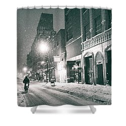 Winter Night - New York City - Lower East Side Shower Curtain by Vivienne Gucwa