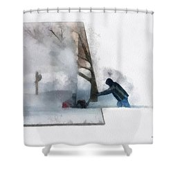 Winter Snow Blower Photo Art Shower Curtain by Thomas Woolworth