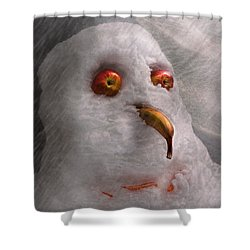 Winter - Snowman - What Are You Looking At Shower Curtain by Mike Savad