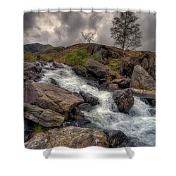 Winter Stream Shower Curtain by Adrian Evans