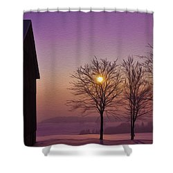 Winter Sunset Shower Curtain by Aged Pixel
