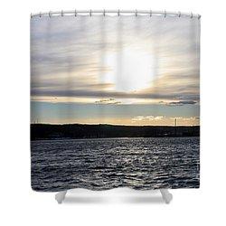 Winter Sunset Over Gardiner's Bay Shower Curtain by John Telfer