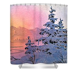 Winter Twilight Shower Curtain by Teresa Ascone