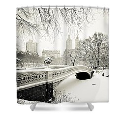 Winter's Touch - Bow Bridge - Central Park - New York City Shower Curtain by Vivienne Gucwa