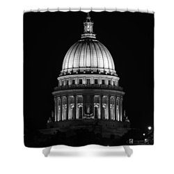 Wisconsin State Capitol Building At Night Black And White Shower Curtain by Sebastian Musial