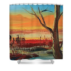 Withered Tree Shower Curtain by Remegio Onia