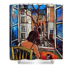 Woman At Window Shower Curtain by Mona Edulesco