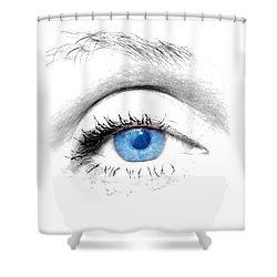 Woman Blue Eye Shower Curtain by Michal Bednarek