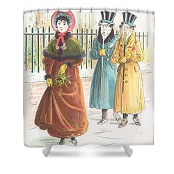 Woman Carrying Bunch Of Mistletoe Shower Curtain by English School