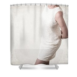 Woman In Lace Dress Shower Curtain by Edward Fielding