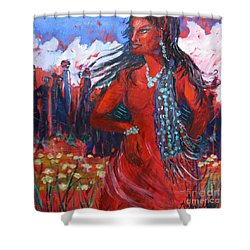 Woman Of The Whispering Wind Shower Curtain by Avonelle Kelsey