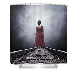 Woman On Tracks Shower Curtain by Joana Kruse
