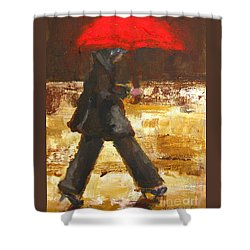 Woman Under A Red Umbrella Shower Curtain by Patricia Awapara