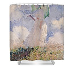 Woman With Parasol Turned To The Left Shower Curtain by Claude Monet