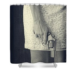 Woman With Revolver Shower Curtain by Edward Fielding