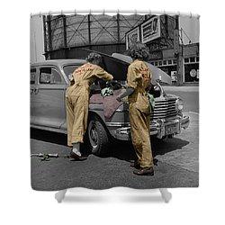 Women Auto Mechanics Shower Curtain by Andrew Fare