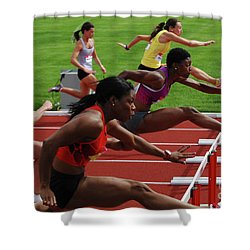 Womens Hurdles 3 Shower Curtain by Bob Christopher