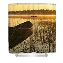 Wooden Boat Shower Curtain by Veikko Suikkanen