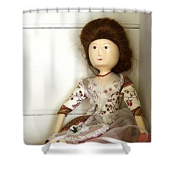 Wooden Doll Shower Curtain by Margie Hurwich