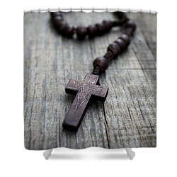Wooden Rosary Shower Curtain by Aged Pixel