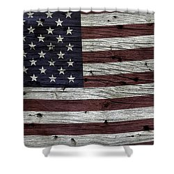 Wooden Textured Usa Flag3 Shower Curtain by John Stephens