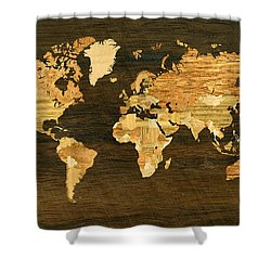 Wooden World Map Shower Curtain by Hakon Soreide