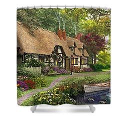 Woodland Walk Cottage Shower Curtain by Dominic Davison