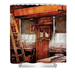 Woodworker - Old Workshop Shower Curtain by Mike Savad