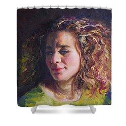 Work In Progress - Self Portrait Shower Curtain by Talya Johnson
