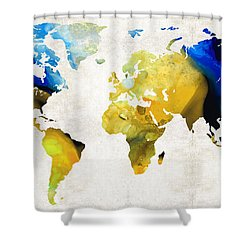 World Map 16 - Yellow And Blue Art By Sharon Cummings Shower Curtain by Sharon Cummings