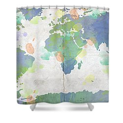 World Map Watercolor 4 Shower Curtain by Paulette B Wright