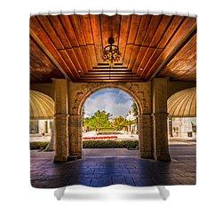 Worth Avenue Courtyard Shower Curtain by Debra and Dave Vanderlaan