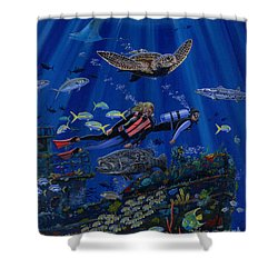 Wreck Divers Re0014 Shower Curtain by Carey Chen