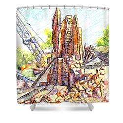 Wrecking Ball Shower Curtain by Kip DeVore