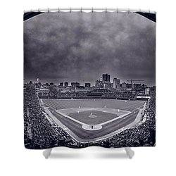 Wrigley Field Night Game Chicago Bw Shower Curtain by Steve Gadomski