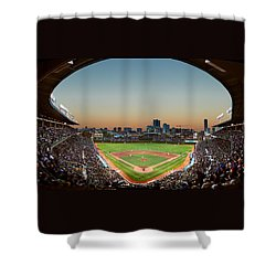 Wrigley Field Night Game Chicago Shower Curtain by Steve Gadomski