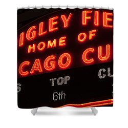 Wrigley Field Sign At Night Shower Curtain by Paul Velgos