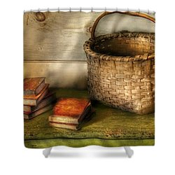 Writer - A Basket And Some Books Shower Curtain by Mike Savad