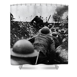 Wwi Over The Top Trench Warfare Shower Curtain by Photo Researchers