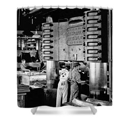 Wwii Aircraft Factory Shower Curtain by Underwood Archives