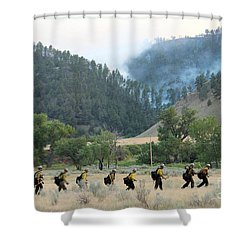 Shower Curtain featuring the photograph Wyoming Hot Shots Walk To Their Assignment by Bill Gabbert