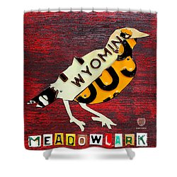 Wyoming Meadowlark Wild Bird Vintage Recycled License Plate Art Shower Curtain by Design Turnpike
