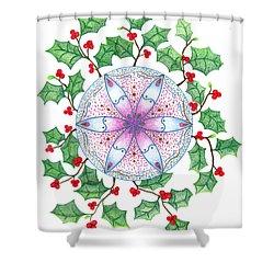 X'mas Wreath Shower Curtain by Keiko Katsuta