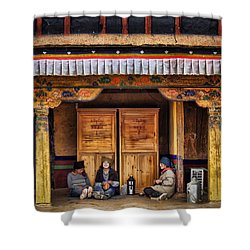 Yak Butter Tea Break At The Potala Palace Shower Curtain by Joan Carroll