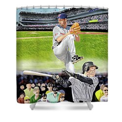 Yankees Vs Indians Shower Curtain by Thomas J Herring