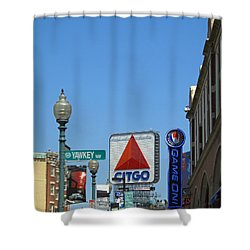 Yawkey Way And Citgo Shower Curtain by Barbara McDevitt