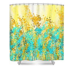 Yellow and turquoise garden painting by lourry legarde - Turquoise and yellow curtains ...